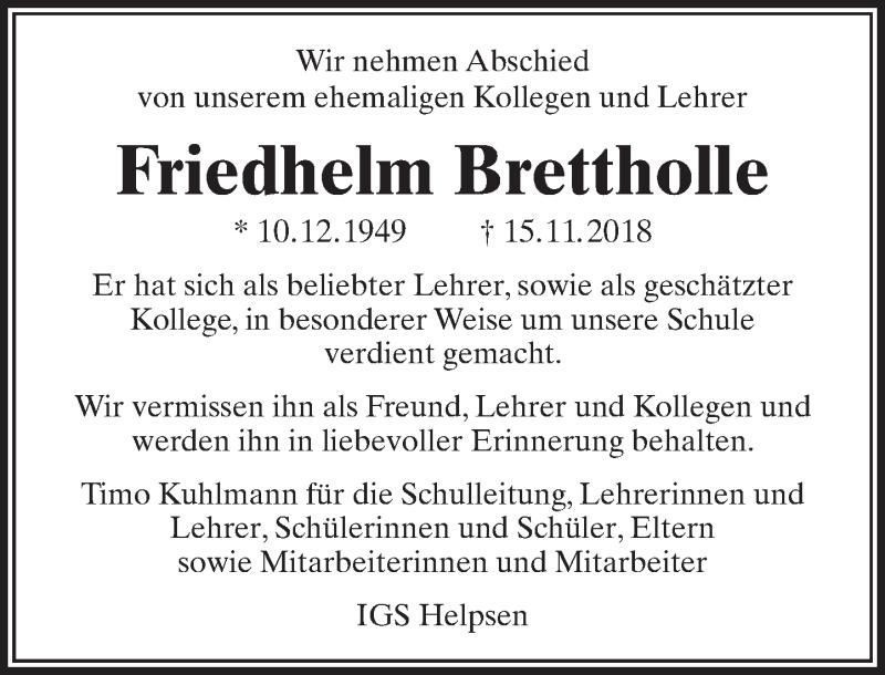 Traueranzeige für Friedhelm Brettholle vom 24.11.2018 aus Schaumburger Nachrichten