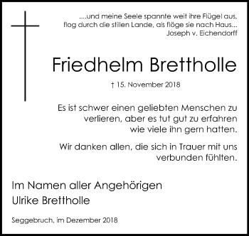Traueranzeige für Friedhelm Brettholle vom 15.12.2018 aus Schaumburger Nachrichten
