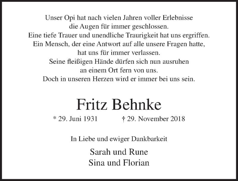 Traueranzeige für Fritz Behnke vom 07.12.2018 aus Lübecker Nachrichten