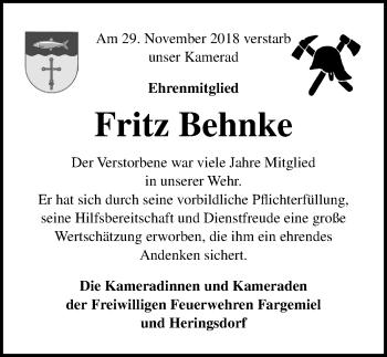 Traueranzeige für Fritz Behnke vom 11.12.2018 aus Lübecker Nachrichten