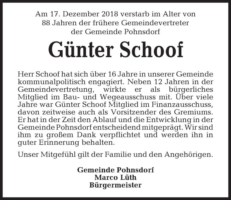 Traueranzeige für Günter Schoof vom 22.12.2018 aus Kieler Nachrichten