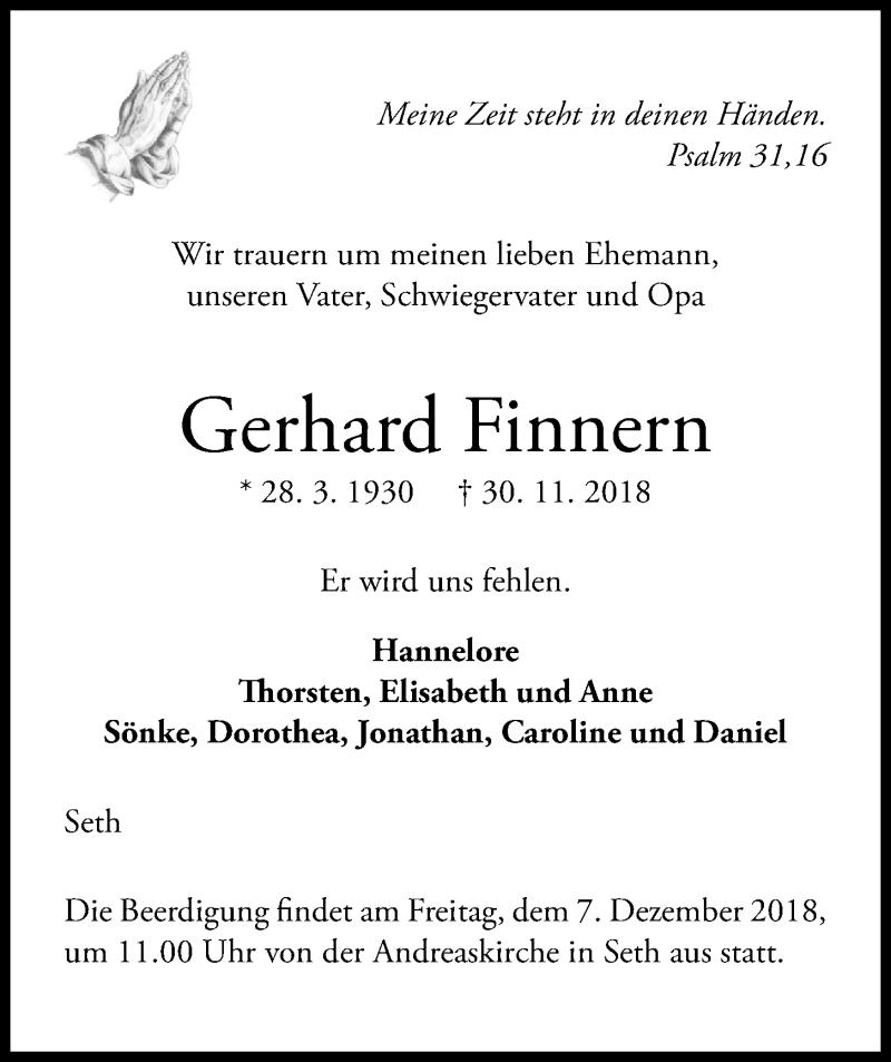 Traueranzeige von  Gerhard Finnern