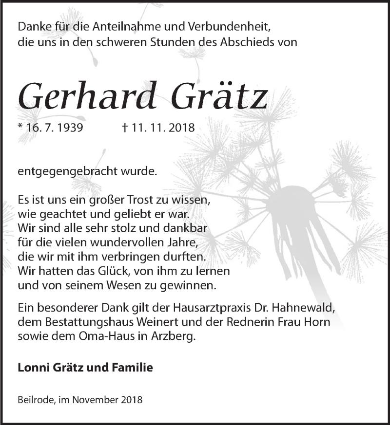 Traueranzeige für Gerhard Grätz vom 15.12.2018 aus Torgauer Zeitung