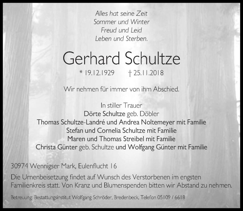 Traueranzeige von  Gerhard Schultze