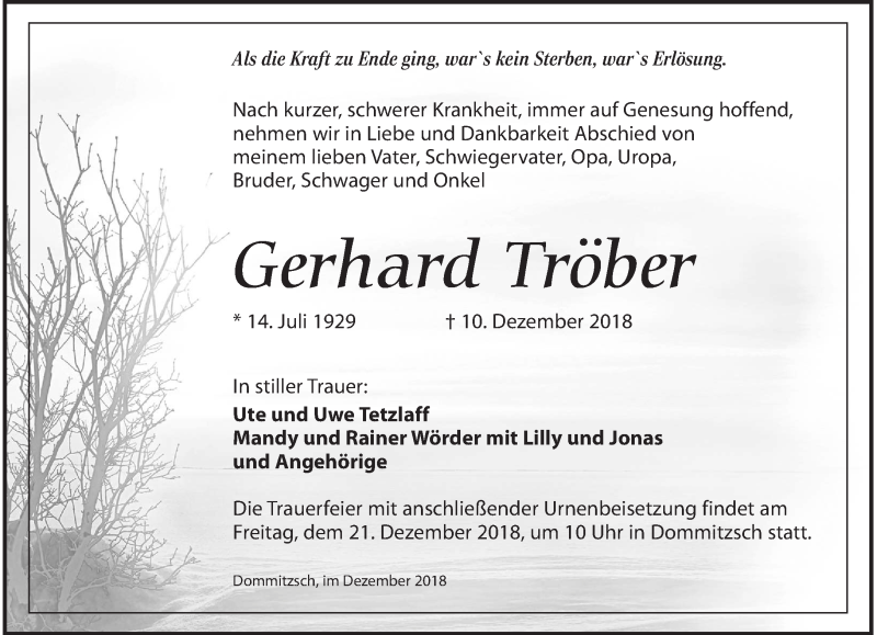 Traueranzeige für Gerhard Tröber vom 15.12.2018 aus Torgauer Zeitung
