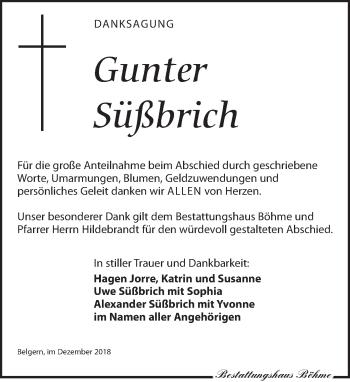 Traueranzeige für Gunter Süßbrich vom 15.12.2018 aus Torgauer Zeitung