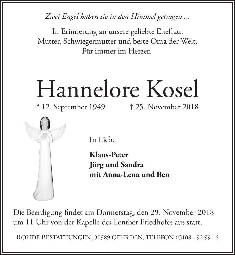 Traueranzeige von  Hannelore Kosel