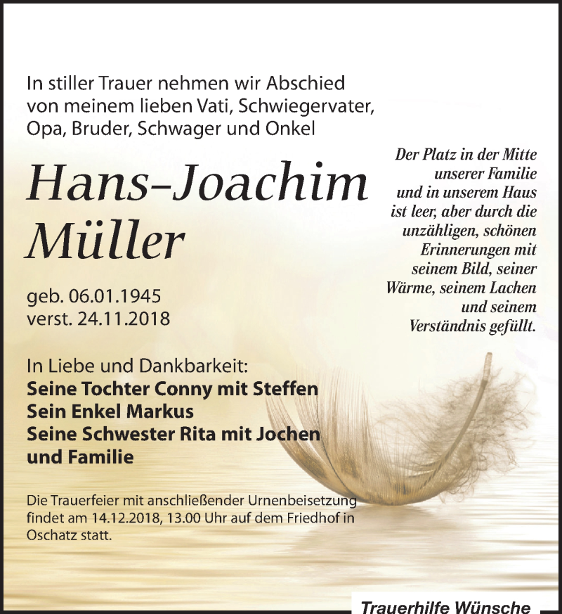 Traueranzeige von  Hans-Joachim Müller