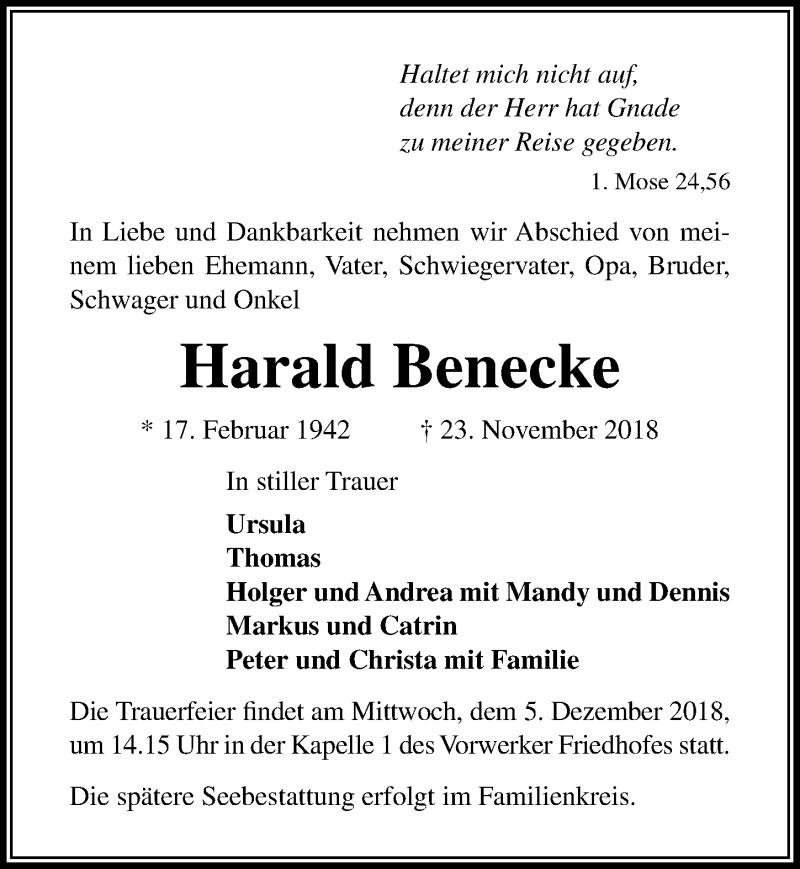 Traueranzeige für Harald Benecke vom 02.12.2018 aus Lübecker Nachrichten