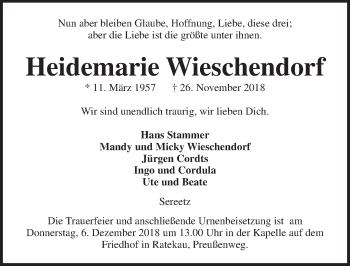 Traueranzeige für Heidemarie Wieschendorf vom 02.12.2018 aus Lübecker Nachrichten