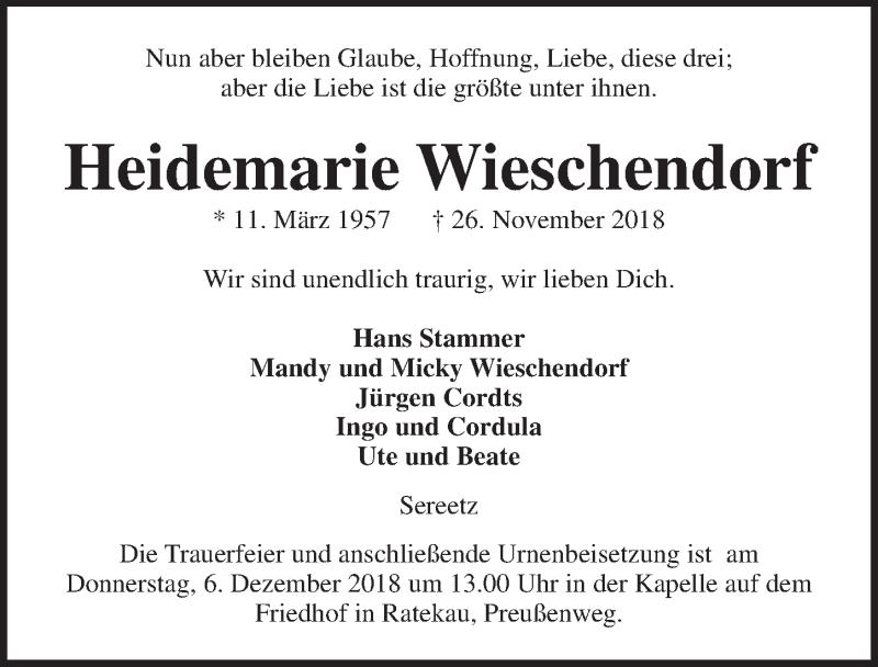 Traueranzeige von  Heidemarie Wieschendorf