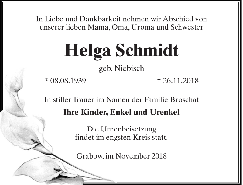 Traueranzeige für Helga Schmidt vom 01.12.2018 aus Märkischen Allgemeine Zeitung