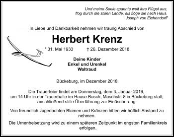 Traueranzeige für Herbert Krenz vom 29.12.2018 aus Schaumburger Nachrichten