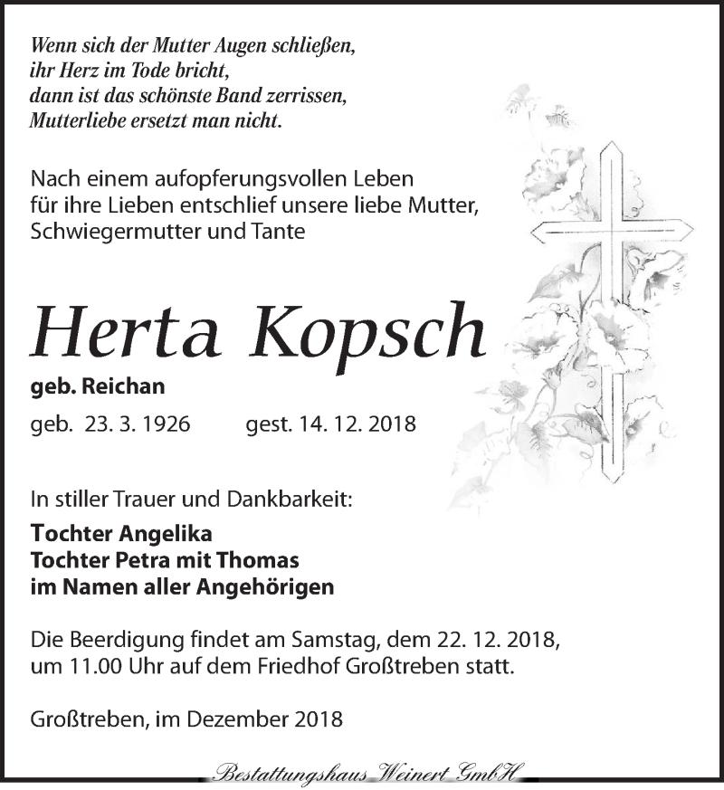 Traueranzeige für Herta Kopsch vom 19.12.2018 aus Torgauer Zeitung