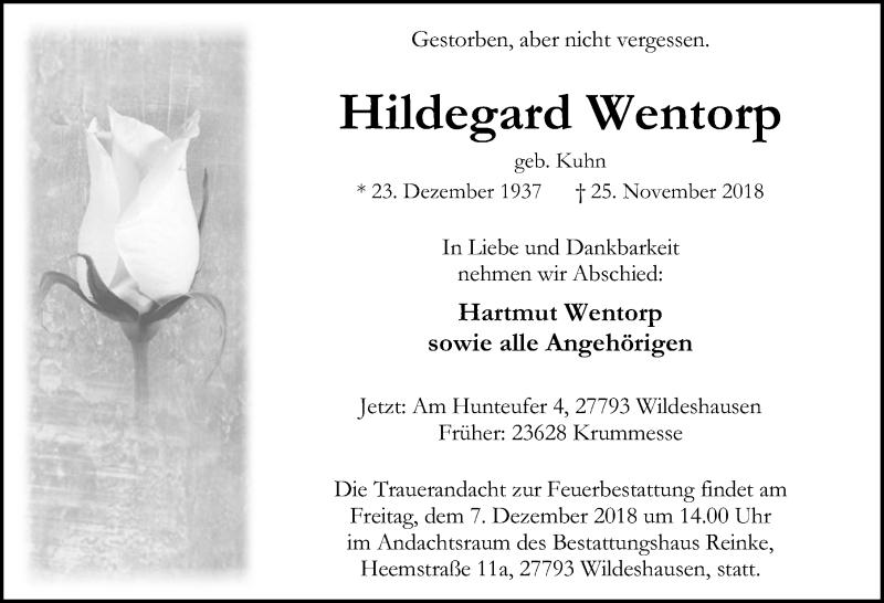 Traueranzeige von  Hildegard Wentorp
