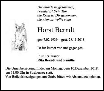 Traueranzeige für Horst Beredt vom 01.12.2018 aus Märkischen Allgemeine Zeitung