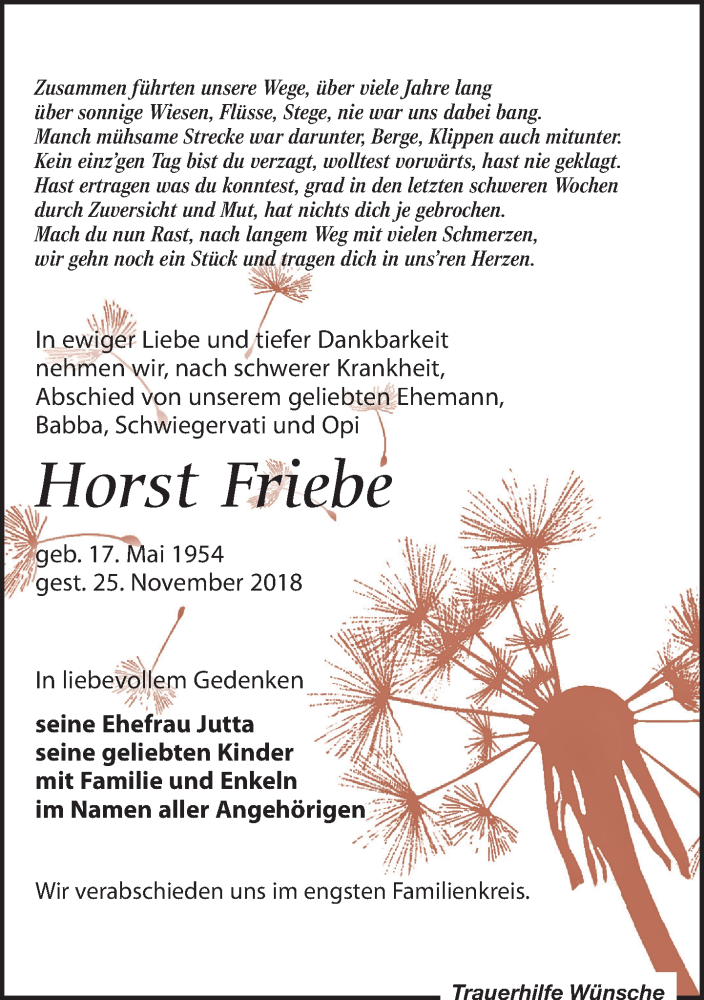 Traueranzeige von  Horst Friebe