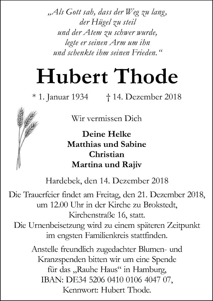 Traueranzeige von  Hubert Thode