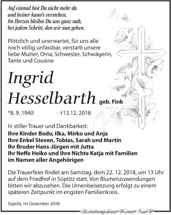 Traueranzeige für Ingrid Hesselbarth vom 15.12.2018 aus Torgauer Zeitung