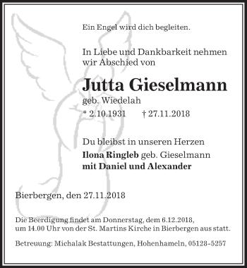 Traueranzeige für Jutta Gieselmann vom 01.12.2018 aus Peiner Allgemeine Zeitung