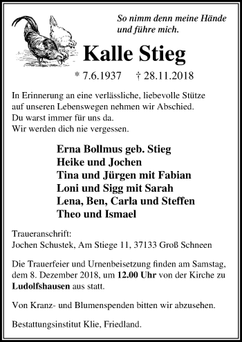 Traueranzeige für Kalle Stieg vom 04.12.2018 aus Göttinger Tageblatt