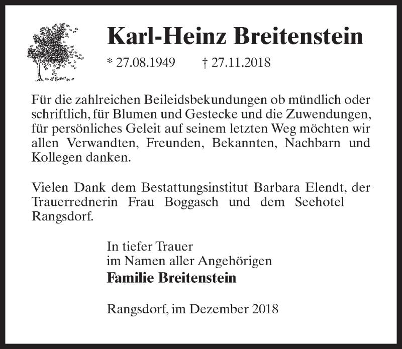 Traueranzeige für Karl-Heinz Breitenstein vom 22.12.2018 aus Märkischen Allgemeine Zeitung