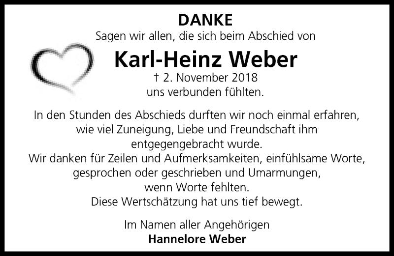 Traueranzeige von  Karl-Heinz Weber