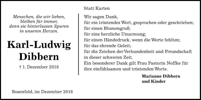 Traueranzeige für Karl-Ludwig Dibbern vom 22.12.2018 aus Kieler Nachrichten