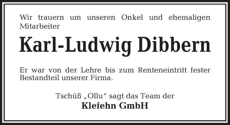 Traueranzeige für Karl-Ludwig Dibbern vom 04.12.2018 aus Kieler Nachrichten