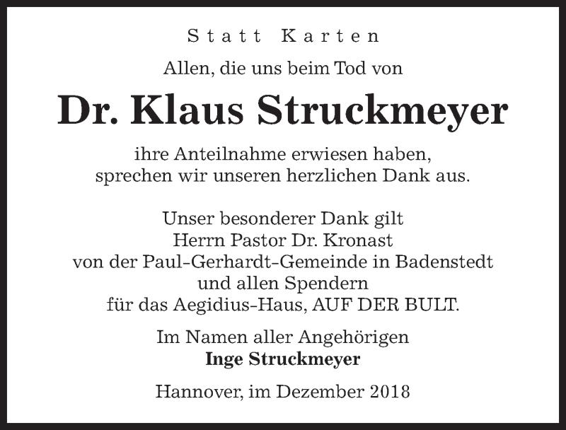 Traueranzeige von  Klaus Struckmeyer