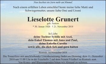 Traueranzeige für Lieselotte Grunert vom 01.12.2018 aus Ostsee-Zeitung GmbH