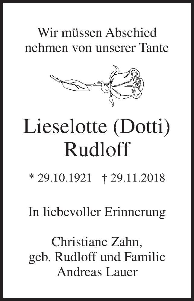 Traueranzeige von  Lieselotte Rudloff
