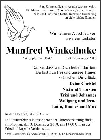 Traueranzeige für Manfred Winkelhake vom 28.11.2018 aus Schaumburger Nachrichten