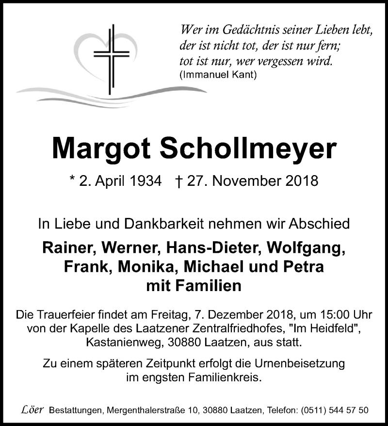 Traueranzeige für Margot Schollmeyer vom 06.12.2018 aus Hannoversche Allgemeine Zeitung/Neue Presse