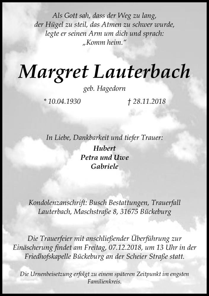 Traueranzeige für Margret Lauterbach vom 04.12.2018 aus Schaumburger Nachrichten