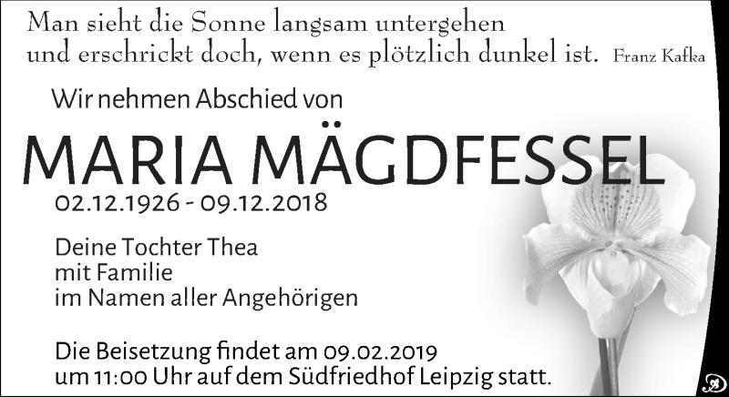 Traueranzeige für Maria Mägdfessel vom 29.12.2018 aus Leipziger Volkszeitung