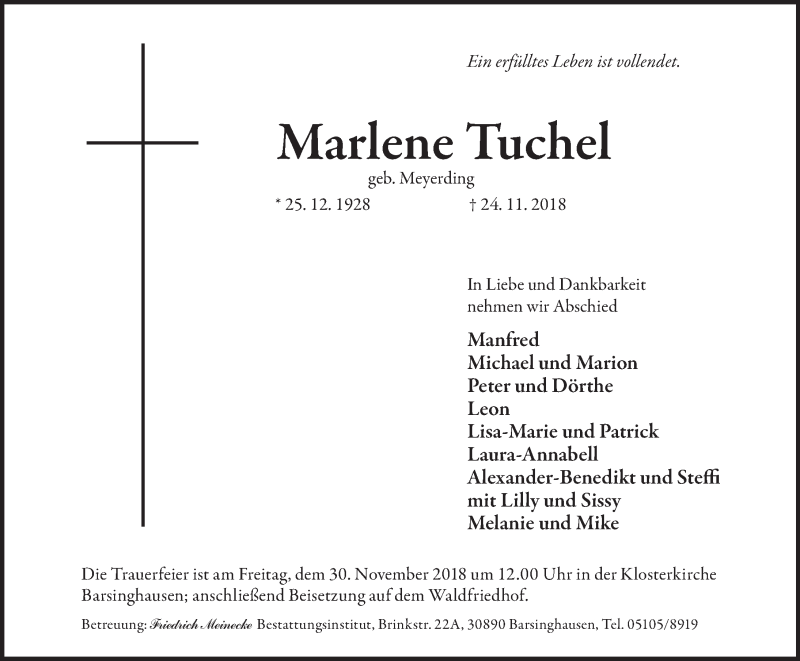 Traueranzeige von  Marlene Tuchel