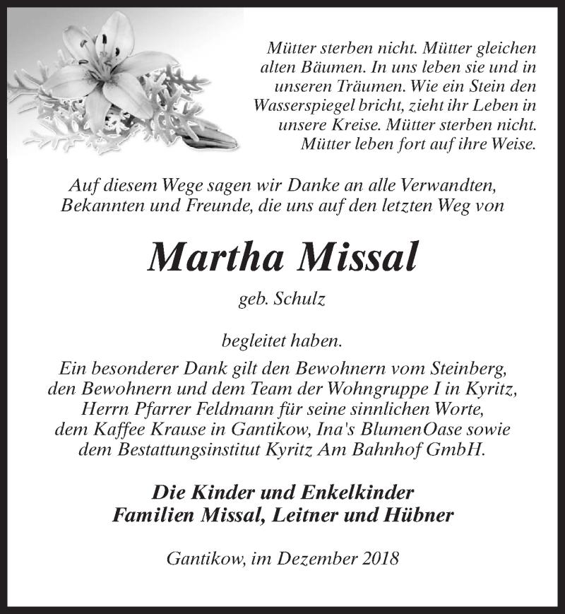 Traueranzeige für Martha Missal vom 12.12.2018 aus Märkischen Allgemeine Zeitung
