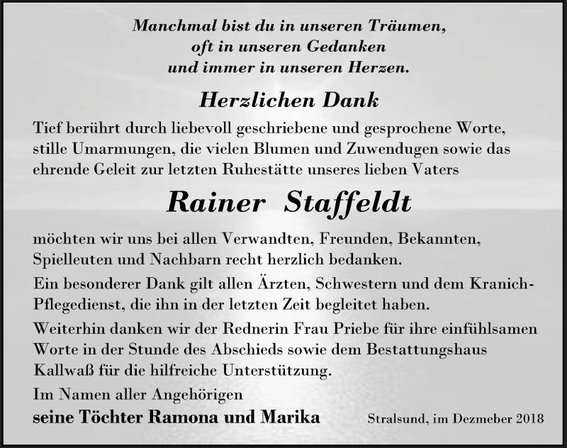Traueranzeige von  Rainer Staffeldt