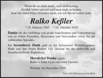 Traueranzeige für Ralko Keßler vom 08.12.2018 aus Ostsee-Zeitung GmbH