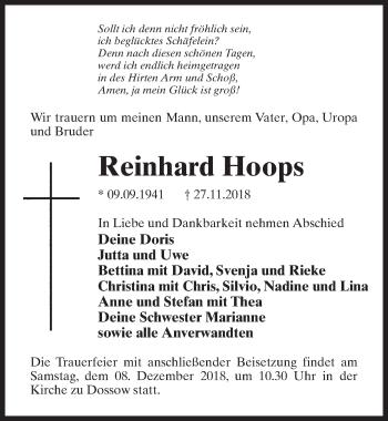 Traueranzeige für Reinhard Hoops vom 01.12.2018 aus Märkischen Allgemeine Zeitung