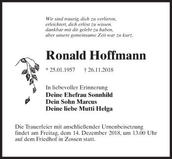 Traueranzeige für Ronald Hoffmann vom 01.12.2018 aus Märkischen Allgemeine Zeitung