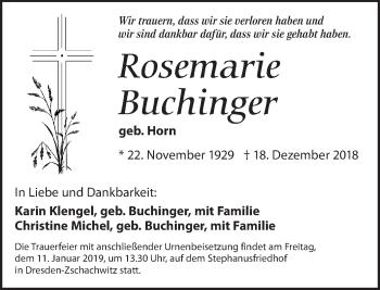 Traueranzeige für Rosemarie Buchinger vom 29.12.2018 aus Dresdner Neue Nachrichten
