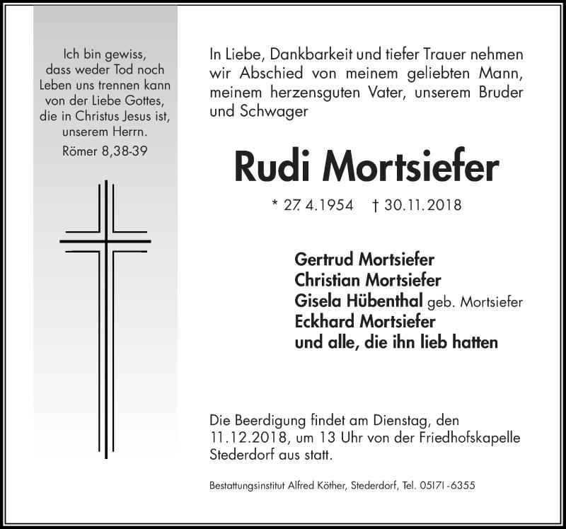 Traueranzeige von  Rudi Mortsiefer