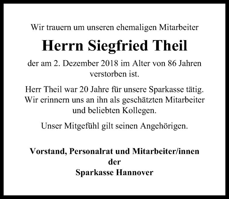 Traueranzeige von  Siegfried Theil