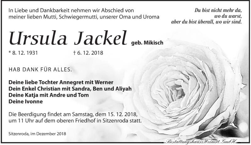 Traueranzeige für Ursula Jackel vom 12.12.2018 aus Torgauer Zeitung