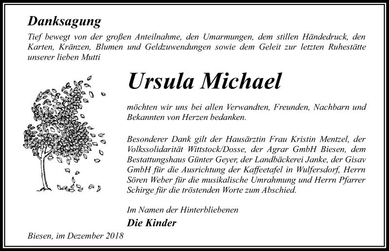 Traueranzeige von  Ursula Michael