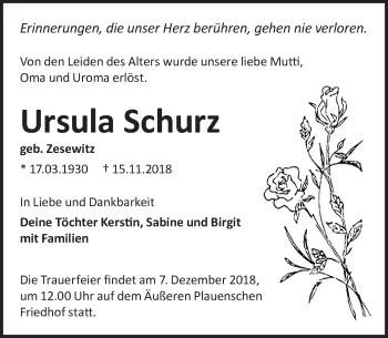 Traueranzeige für Ursula Schurz vom 01.12.2018 aus Dresdner Neue Nachrichten