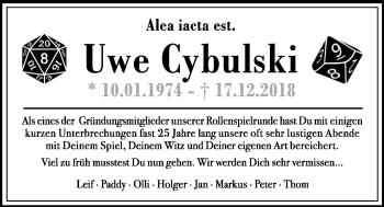 Traueranzeige für Uwe Cybulski vom 29.12.2018 aus Kieler Nachrichten