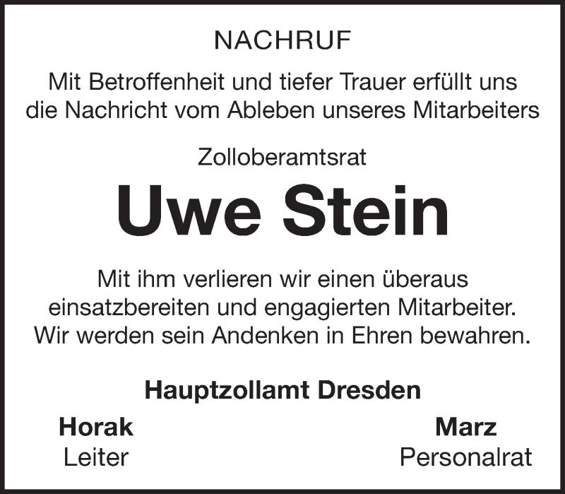 Traueranzeige von  Uwe Stein